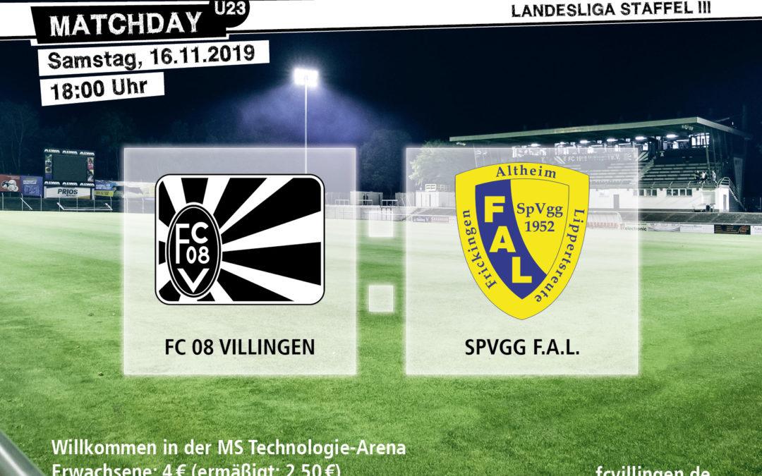 U23: Spitzenspiel gegen Spvgg F.A.L.
